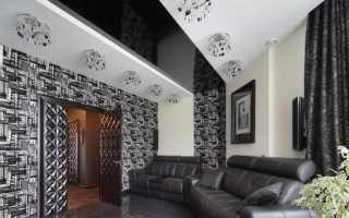 Чёрно-белые натяжные потолки фото интерьеров